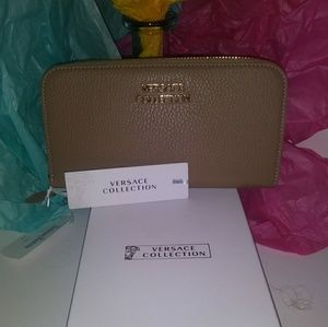 NWT- Versace taupe wallet/ wristlet